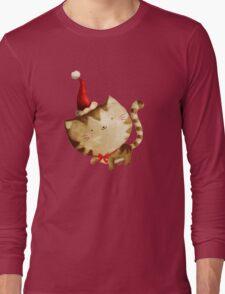 Cute Christmas Cat  - Santa's Helper Long Sleeve T-Shirt