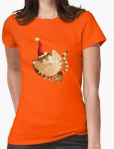 Cute Christmas Cat  - Santa's Helper Womens Fitted T-Shirt
