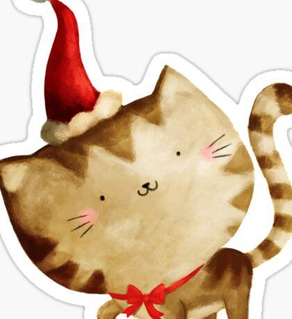 Cute Christmas Cat  - Santa's Helper Sticker