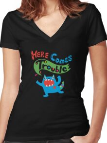 Here Comes Trouble on dark Women's Fitted V-Neck T-Shirt