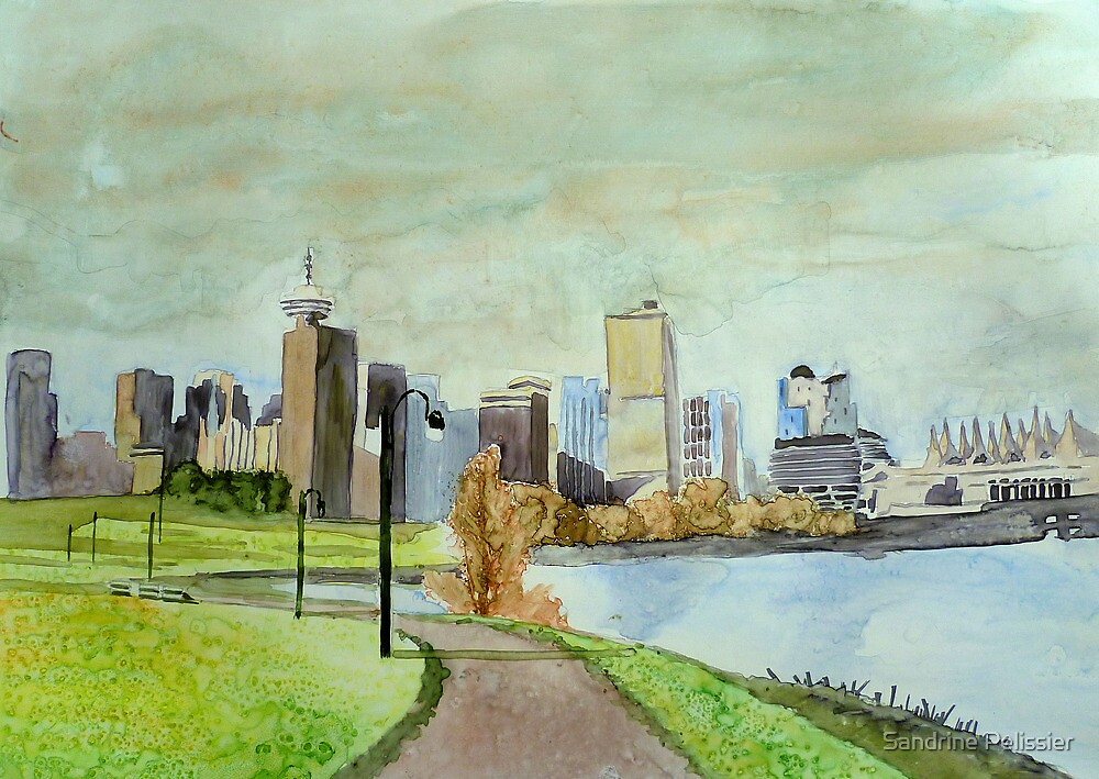 Vancouver, watercolor on yupo paper by Sandrine Pelissier