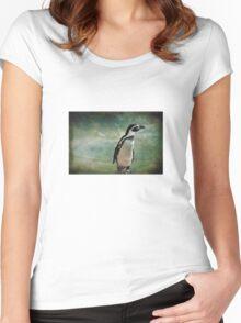 Pondering Penguin Women's Fitted Scoop T-Shirt
