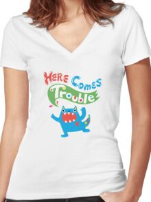 Here Comes Trouble primary Women's Fitted V-Neck T-Shirt