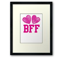 BFF with cute pink hearts Best Friends forever Framed Print