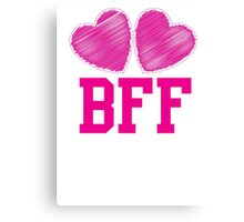 BFF with cute pink hearts Best Friends forever Canvas Print