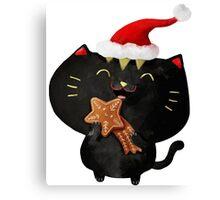 Christmas Black Cute Cat Canvas Print