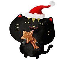 Christmas Black Cute Cat Photographic Print