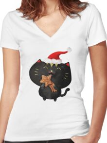 Christmas Black Cute Cat Women's Fitted V-Neck T-Shirt