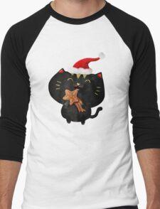 Christmas Black Cute Cat Men's Baseball ¾ T-Shirt
