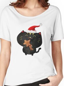 Christmas Black Cute Cat Women's Relaxed Fit T-Shirt