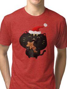 Christmas Black Cute Cat Tri-blend T-Shirt