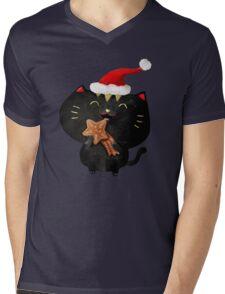 Christmas Black Cute Cat Mens V-Neck T-Shirt