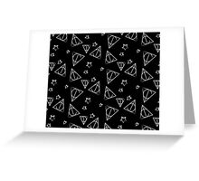 White on Black Deathly Hallows and Stars Pattern Greeting Card