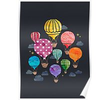 Hot Air Balloon Night Poster