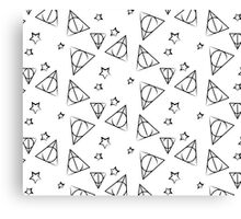 Black on White Deathly Hallows and Stars Pattern Canvas Print