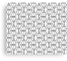 Black on White Deathly Hallows Pattern Canvas Print