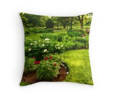 Lush Green Gardens - the Beauty of June Throw Pillow