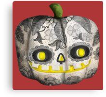 Jack O Lantern Sugar Skull Pumpkin Head Canvas Print