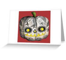 Jack O Lantern Sugar Skull Pumpkin Head Greeting Card