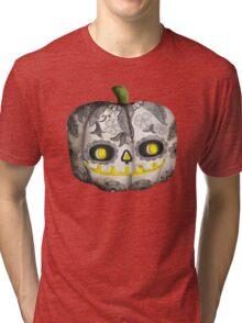 Jack O Lantern Sugar Skull Pumpkin Head Tri-blend T-Shirt
