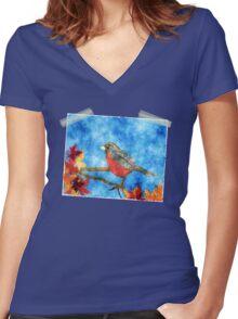 Springtime Robin Women's Fitted V-Neck T-Shirt