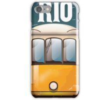 Rio Brazil Vintage Tram vacation travel poster. Brazil tram holiday print. iPhone Case/Skin