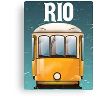 Rio Brazil Vintage Tram vacation travel poster. Brazil tram holiday print. Canvas Print