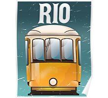 Rio Brazil Vintage Tram vacation travel poster. Brazil tram holiday print. Poster