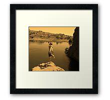 Yoga on the edge Framed Print