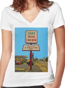 Lisa's Fried Chicken T-Shirt Women's Fitted V-Neck T-Shirt