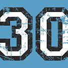 Number 30 Vintage 30th Birthday Anniversary by theshirtshops