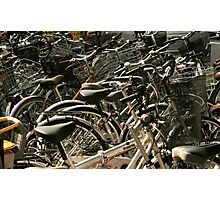Bikes on the street, Tokyo, Japan Photographic Print