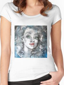 Raw Looks Abstract Woman's Face Women's Fitted Scoop T-Shirt