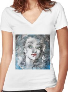 Raw Looks Abstract Woman's Face Women's Fitted V-Neck T-Shirt