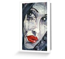 Raw Looks Red Lips Face Greeting Card