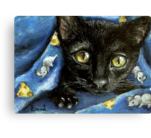 Of mice and cheese and woken kitty... Canvas Print