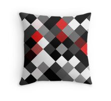 Bold Block Black White Red Diagonal Pattern Throw Pillow
