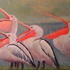 pelicans in the rain, brisbane, australia by veriest