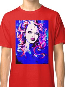 Raw Looks - Woman's Face Painting Digital Half Tone Classic T-Shirt