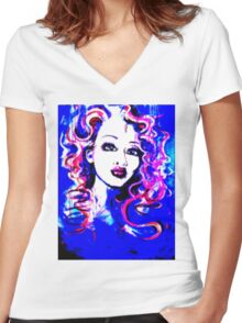 Raw Looks - Woman's Face Painting Digital Half Tone Women's Fitted V-Neck T-Shirt