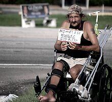 Homeless guy in wheelchair by Amanda Huggins