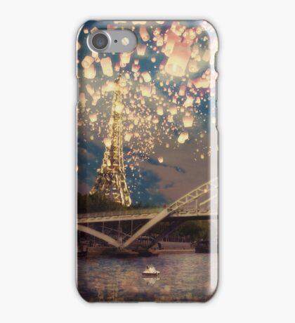 Love Wish Lanterns over Paris iPhone Case/Skin