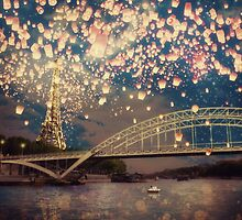 Love Wish Lanterns over Paris by Paula Belle Flores