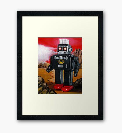 Smoking Robot on Mars Framed Print