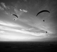 Paragliders, Westbury White horse by Dave Sayer