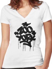 ZOO YORK BLACK Women's Fitted V-Neck T-Shirt
