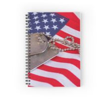 Military dog tags on American Flag Spiral Notebook