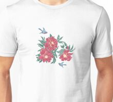 Little Blue Birds in My Peony Garden Unisex T-Shirt