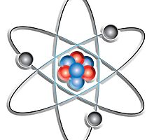 ATOM, ATOMIC, Lithium atom, model, SMALL, Physics, Neutrons, Protons, Electrons, Nuclear, Energy, Fission, Fusion  by TOM HILL - Designer
