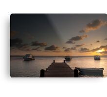 Sunset from the jetty - Bonaire Metal Print